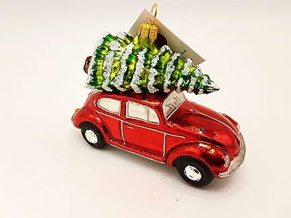 Hanco Glass VW Beetle Red with Christmas Tree, Christmas Ornament, (2535.01) - Amazon.com: Hanco Glass VW Beetle Red With Christmas Tree, Christmas