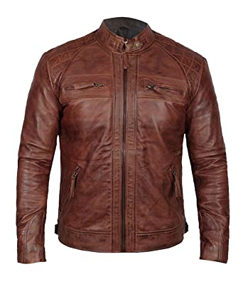 e7d89f67233de7 III-Fashions Mens Cafe Racer Brown Vintage Quilted Motorcycle Rider Leather  Biker Jacket