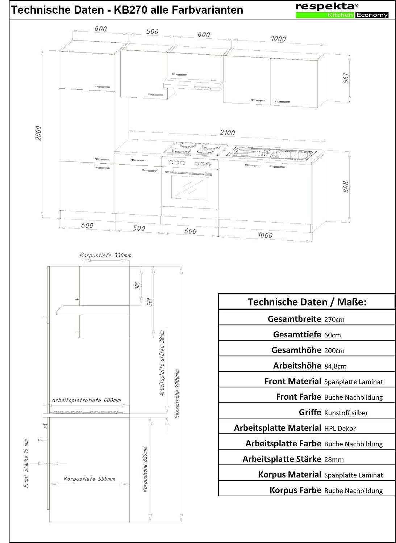 respekta kb270brec Cocina empotrable Cocina - Bloque de Cocina (270 cm Haya Rojo, frigorífico y fregaderos impotrables, instalación Horno de Juego, ...