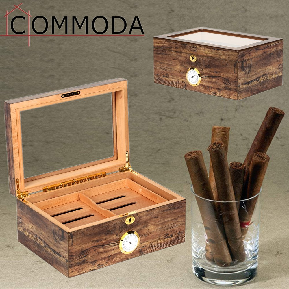 COMMODA Desktop Cigar Humidor Tempered Glasstop with Front Mounted Hygrometer and Humidifier, Cedar Lined Storage Box Spanish Cedar Tray with Divider, Holds 100 Cigars Cigar Free Cutter and Rack by COMMODA (Image #6)