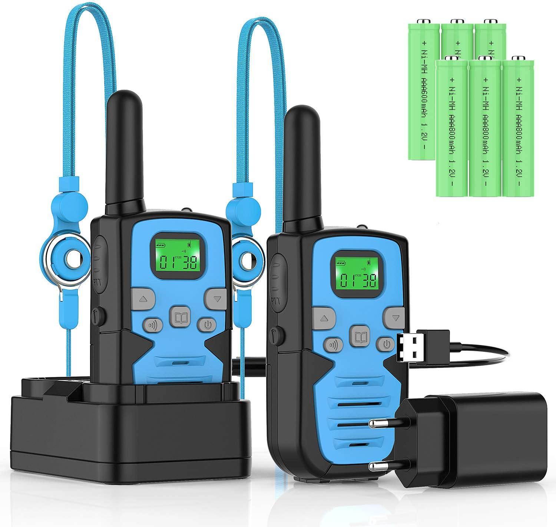 Bobela Talkie Walkie Enfants Rechargeable 2Pcs 8 Canaux Longue Port/ée /à 3 km VOX avec /écran LCD R/étro/éclair/é et Lampe de Poche Cadeau pour Randonn/ée Camping Pique-Nique Excursion Terrain V/élo
