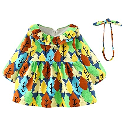 Ropa Bebe Niño Mangas Largas Baby Girl Con Estampado De Árbol Pequeño Princesa Dress Con Cordón