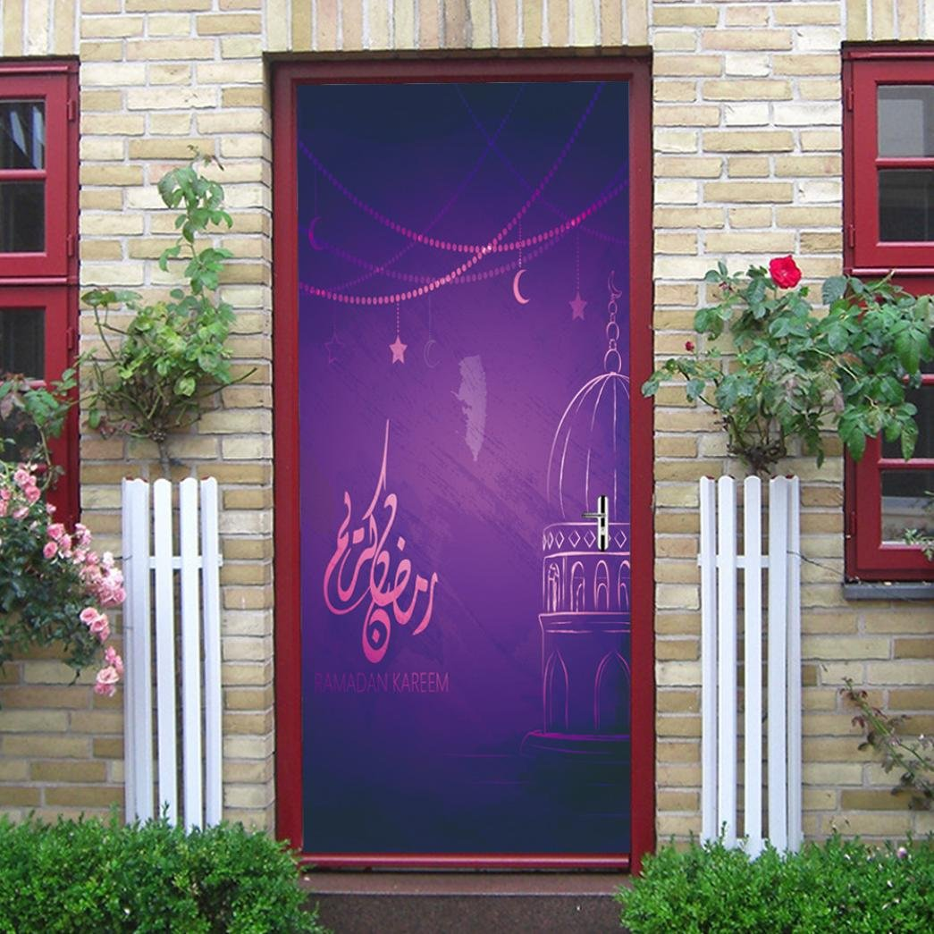 3D Door Stickers 3D Muslim Creative Door Stickers Bedroom Doors Renovation Waterproof Stickers (77cmX200cm, Multicolor -B) DRESS_start