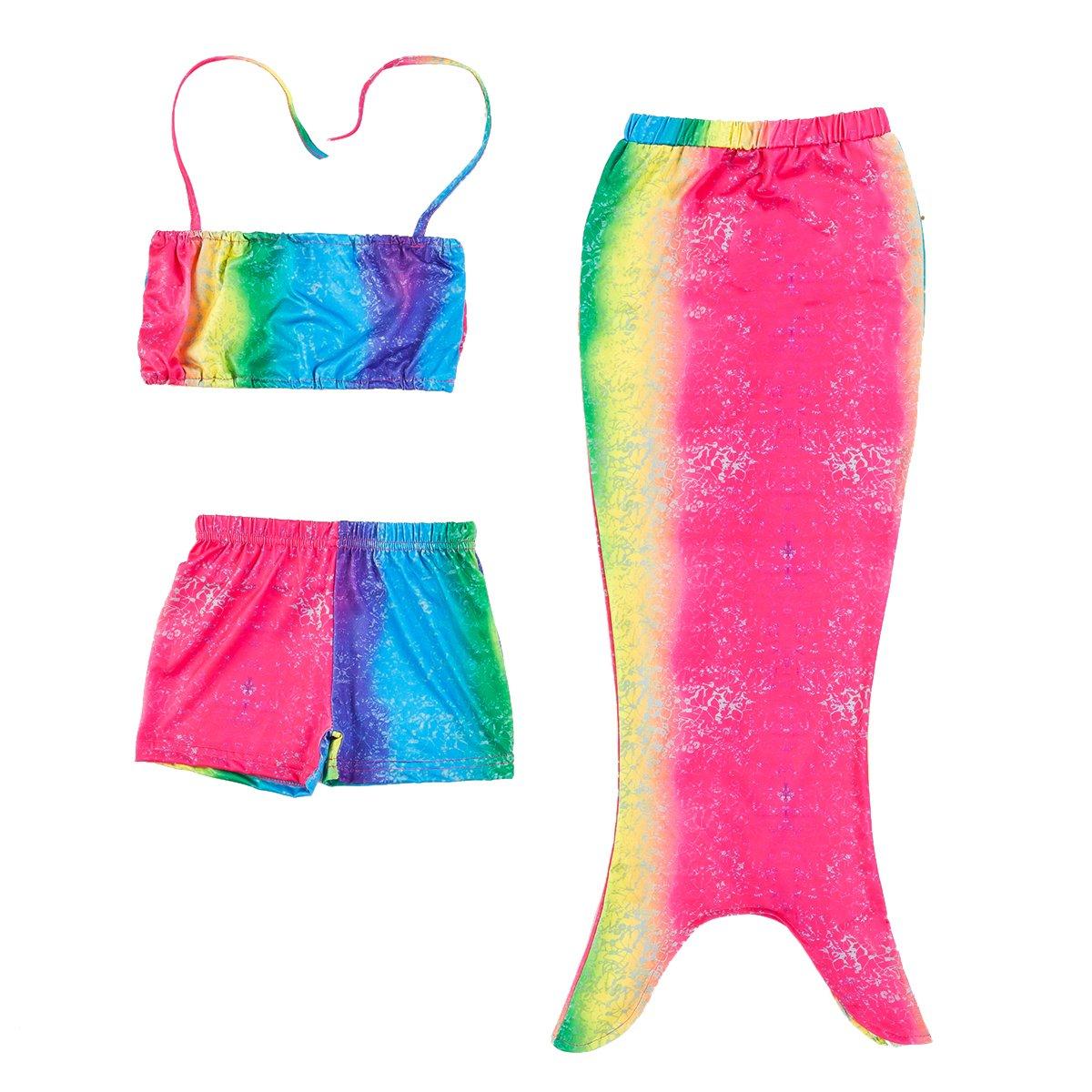 PGXT Girls 3 Pcs Mermaid Tail Rainbow Fish scale Bathing Suit Swimwear Summerswim001-Rainbow-M