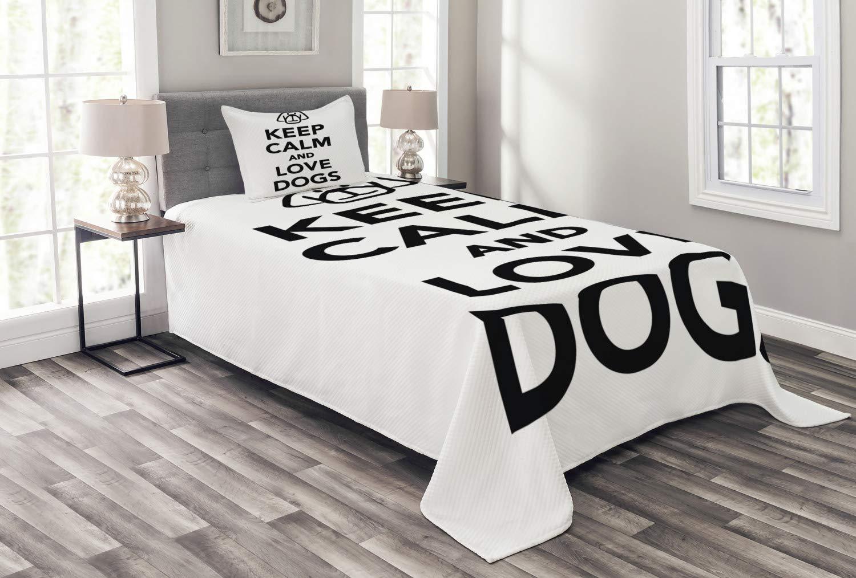 Ambesonne Keep Calm ベッドスプレッド 動物好きの人気のフレーズ かわいい犬 ポートレート ピュアブレッド 国産ペット 装飾用キルトベッドカバー 枕カバー付き ブラックホワイト ツイン bed_54197_twin B07NPQLC4M マルチ1 ツイン