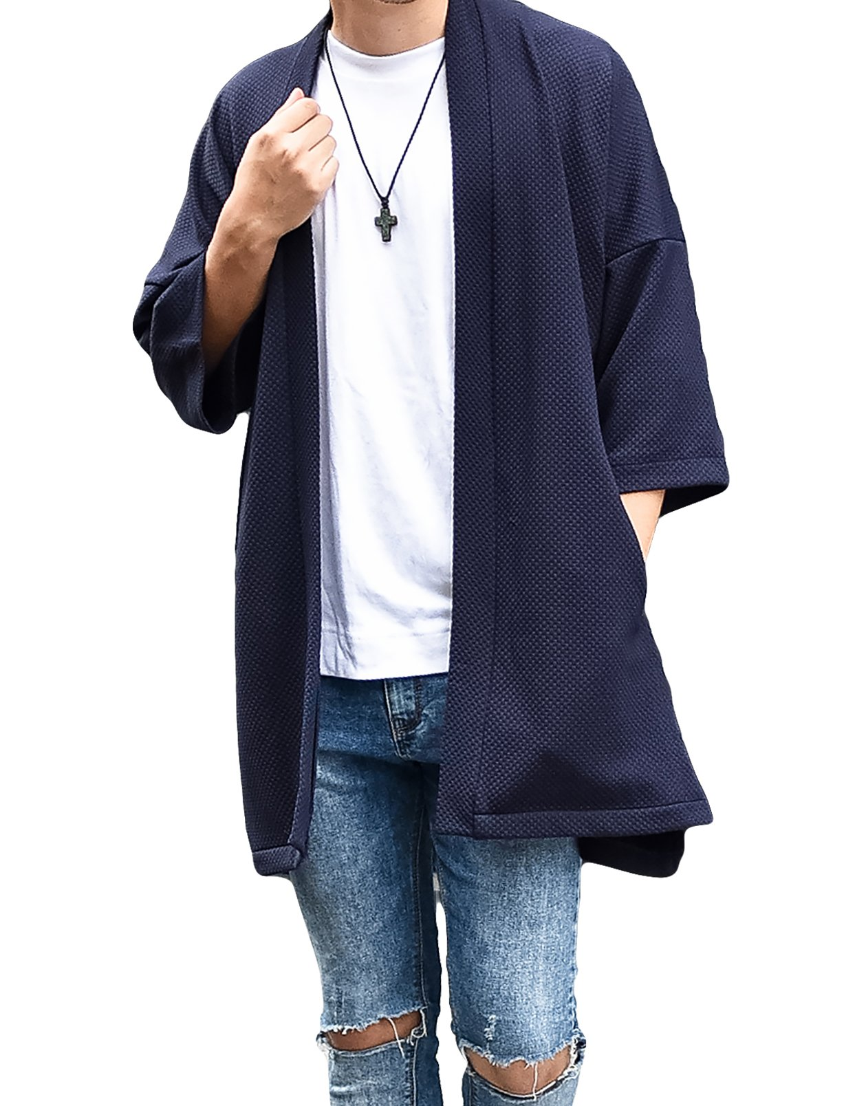 LOST IN BKK Men's Long Oversized Kimono Cardigan Noragi Street Jacket Haori Man Yukata Coat (Navy) by LOST IN BKK