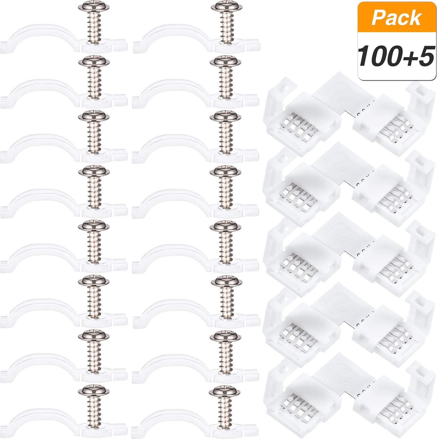 100 Pack Mounting Bracket Kit Strip Light Mounting Brackets, Fixing Clips, with 5 Pieces LED Strip Light Connector, L Shape 4 Pin Connector, 100 Screws Included Jovitec
