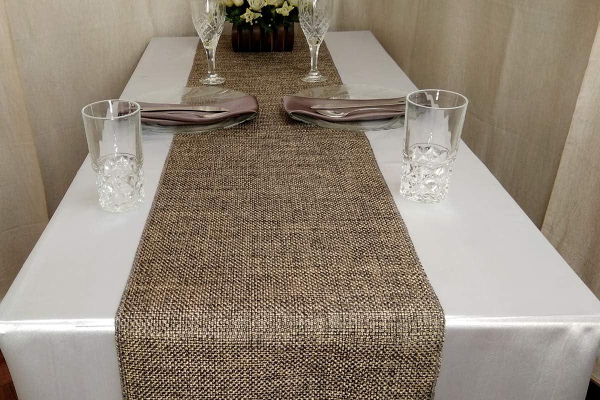 Parfair Dessin Burlap Jute-Cotton High Density Fabric Table Runner 13in. x 48in, Blue
