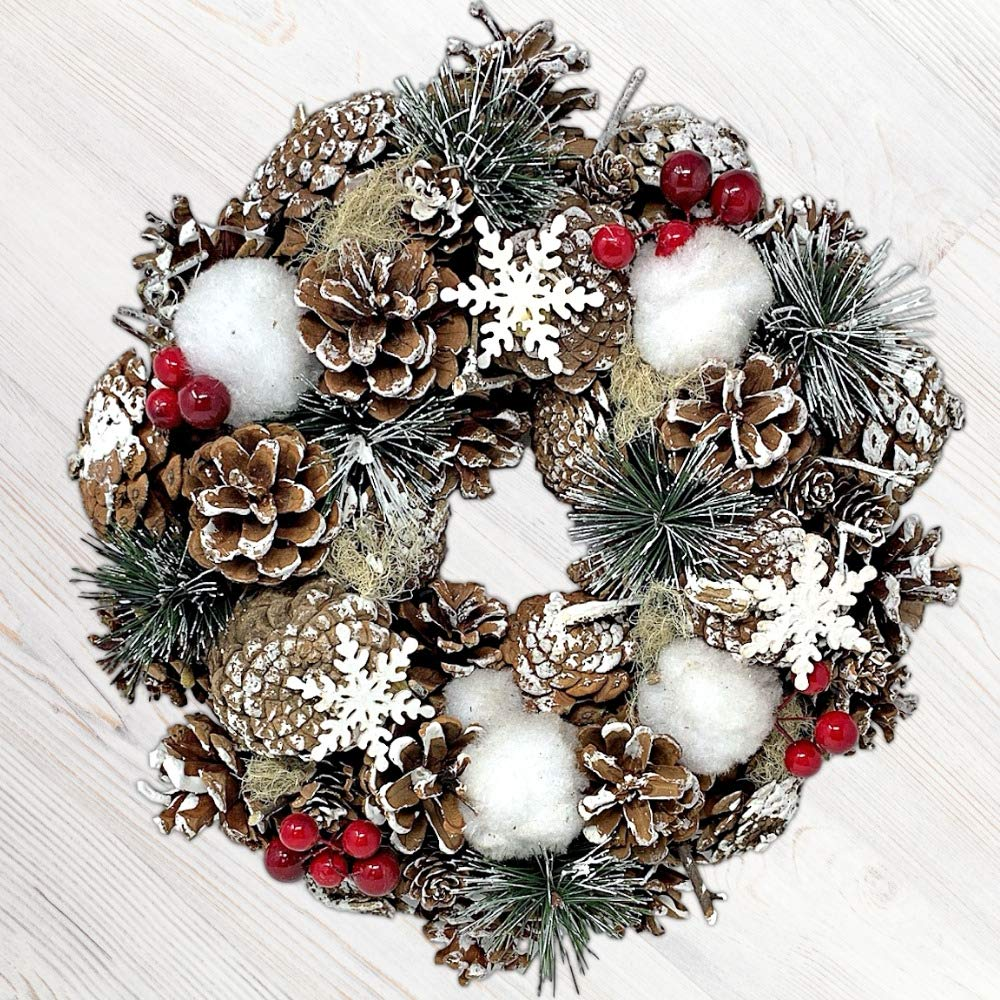 BANBERRY DESIGNS Woodsy Country Christmas Wreath with Snowy Pinecones, Cotton, Pine, Red Berry- Winter Farmhouse Rustic Home Décor for Front Door Window Wall Table
