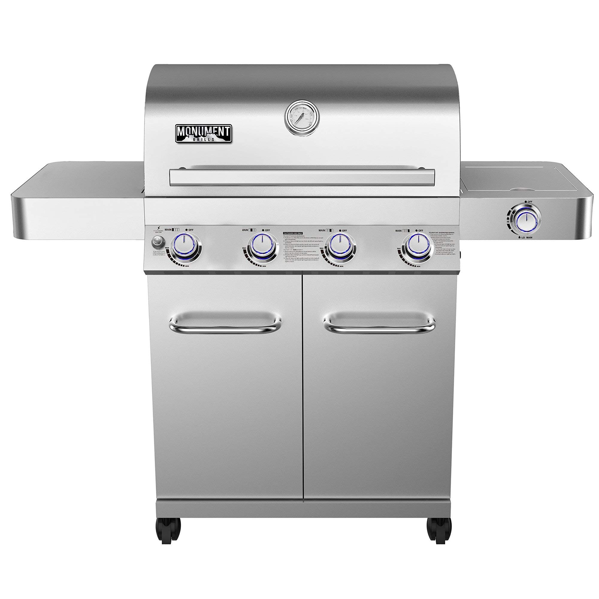 Monument Grills Stainless Steel 4-Burner Gas Grill w/Rotisserire