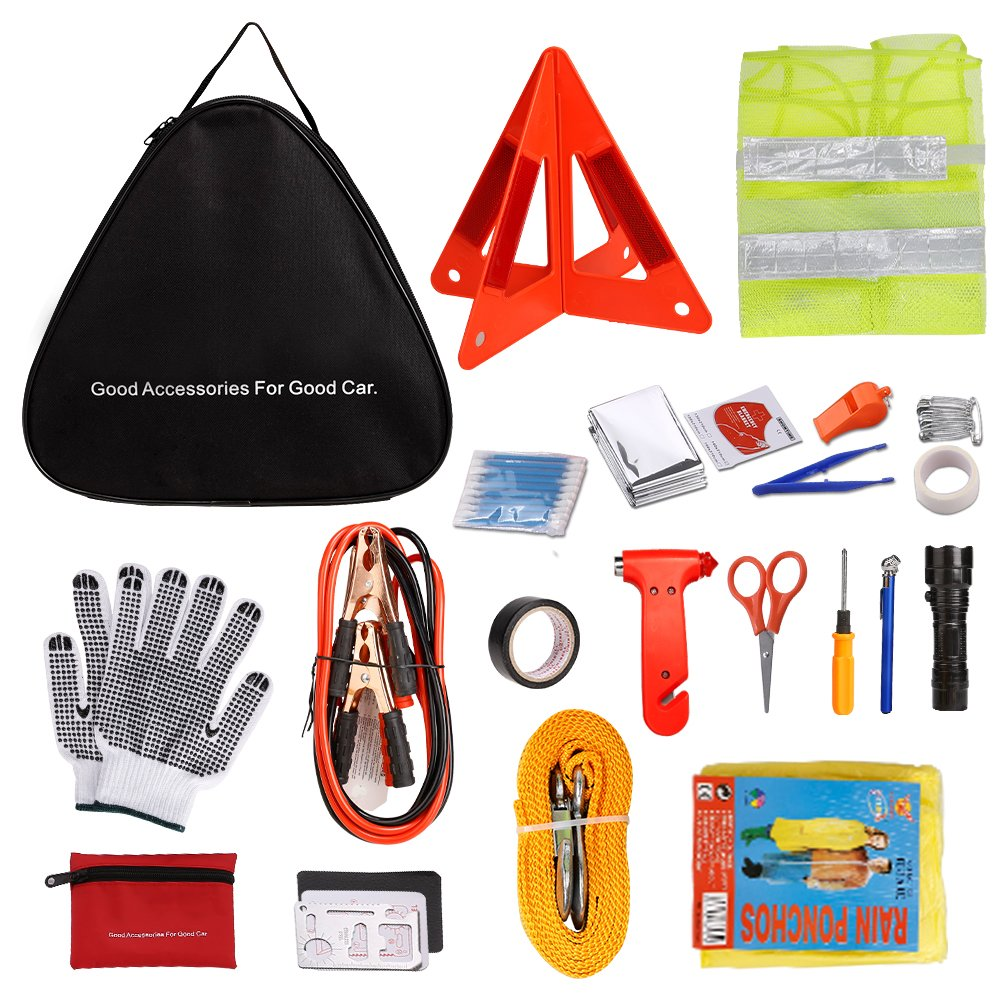 Adakiit Car Emergency Kit, Multifunctional Roadside Assistance 40-in-1 Auto Emergency Kit with Jumper Cables,Tow Rope,Triangle,Flashlight,Tire Pressure Gauges,Safety Hammer,etc Safety Hammer, etc