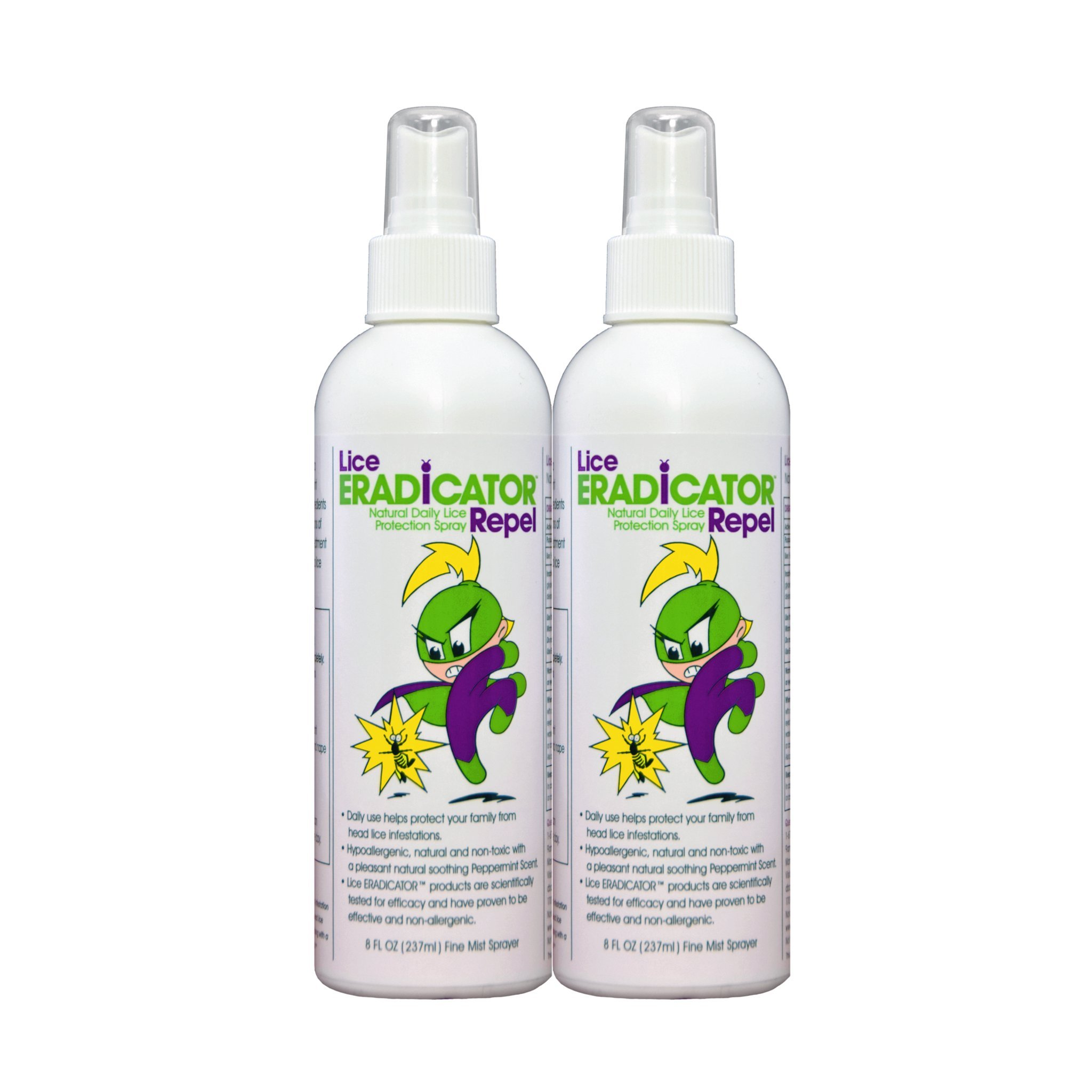 Lice ERADICATOR Repel Lice Repellent Spray for Daily Prevention and Protection / Natural, Non-Toxic, Homeopathic, Peppermint Formula / 8 Ounce 2 Pack