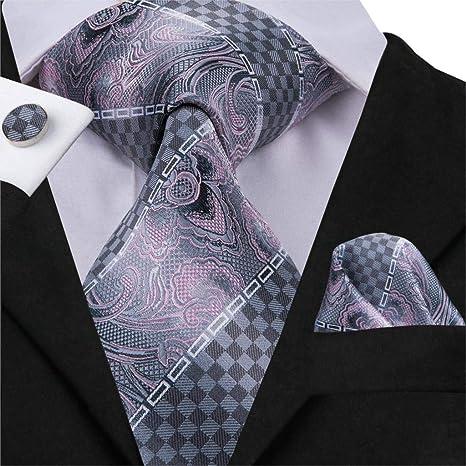 HYCZJH Corbata para Hombre Seda Gris Rayado Floral Corbata Moda ...