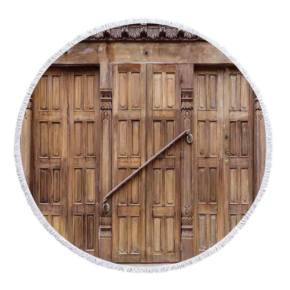 iPrint 厚手ラウンドビーチタオルブランケット 素朴 古い木製 古いバーンドア 南京錠付き ヴィンテージファームハウス 田舎村 写真 ブラウン 多目的ビーチスロー 61Inch STJ-YWKRN-16955-C150XK150 B07G8Y33XK S15