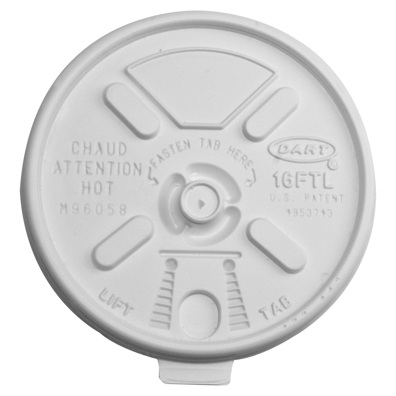 Dart 16FTL Vented Foam Lids for 16-24 oz Foam Cups, Lift n' Lock Lid