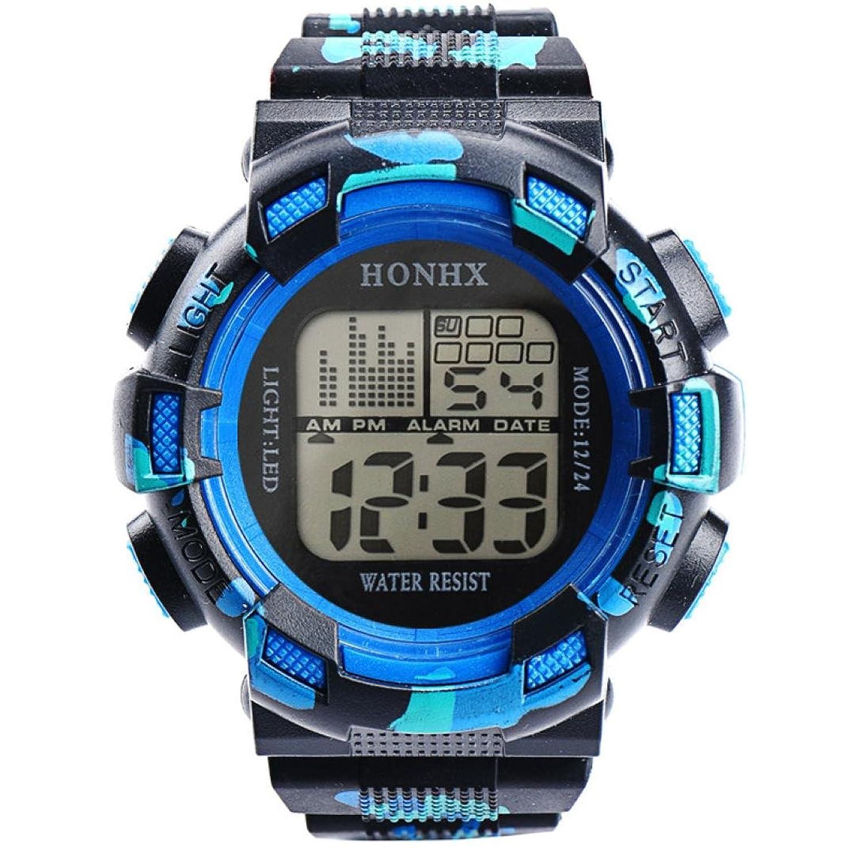 honhxメンズスポーツ腕時計LEDデジタル日付アラーム腕時計防水クオーツRound Wrist Watches ブラック2 B072HH3Q7Kブラック2