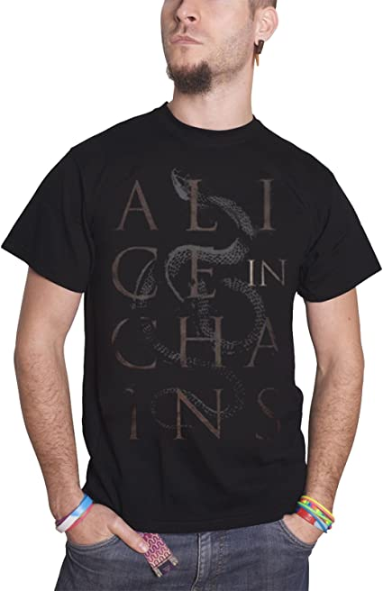 Alice In Chains Official Snakes Mens Black Short Sleeve T-Shirt Retro Rock
