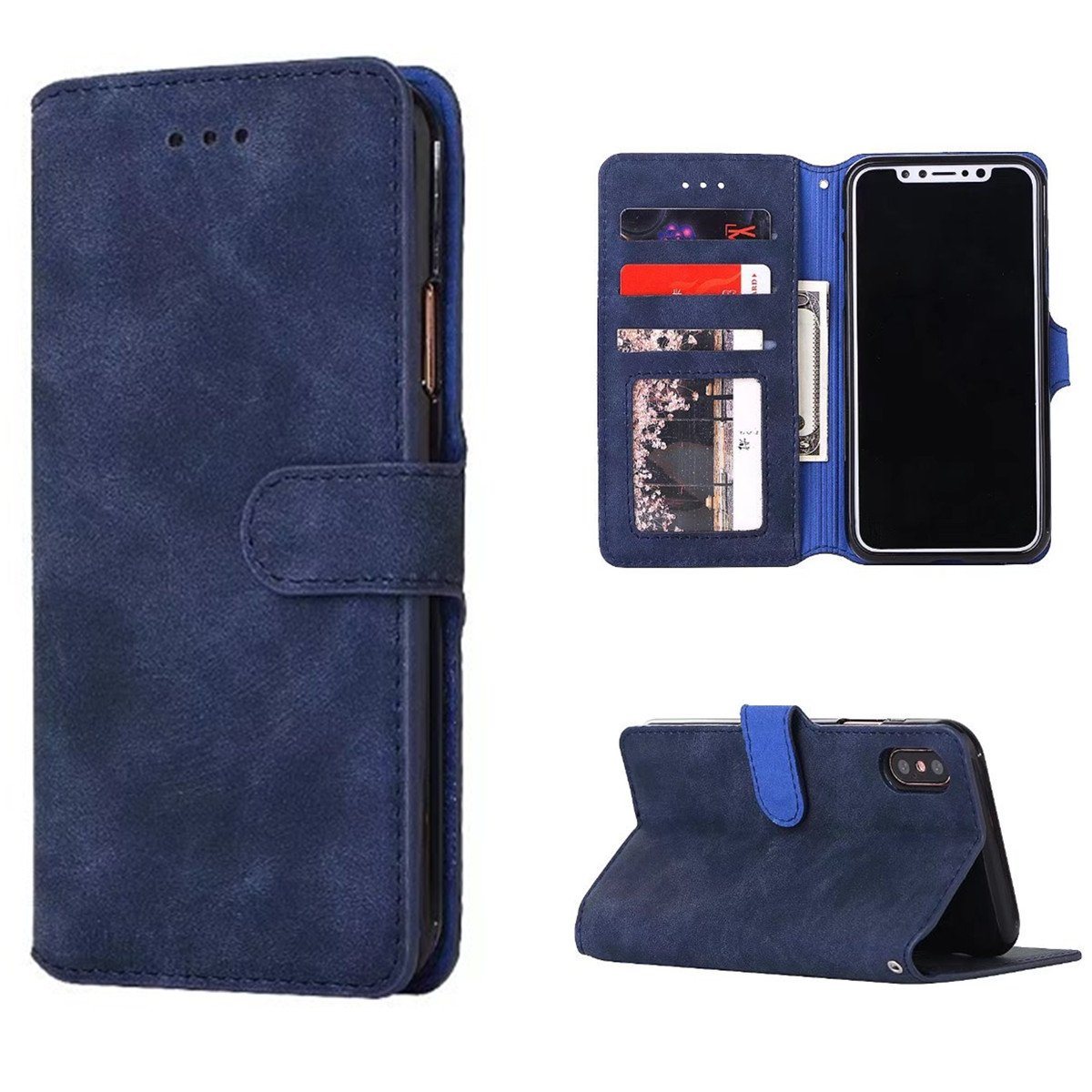 iPhone X Case, iPhone X Wallet Case, Genuine Leather Folio Flip Cover Stand Wallet Case with Business Card Holder for iPhone X (Blue)