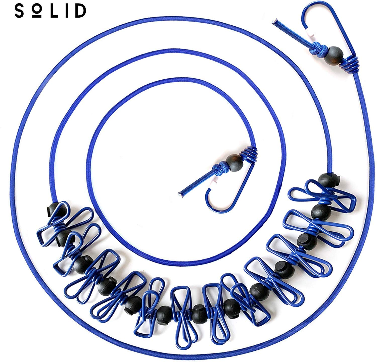 Solid (TM Portable Travel Clothesline for Home, Hotel & Camping, Indoor/Outdoor (Blue), 12 ft Elastic line, 2 Adjustable End Hooks, 12 Clothespin, 15 Movable Locking Beads, Travel Pouch Included