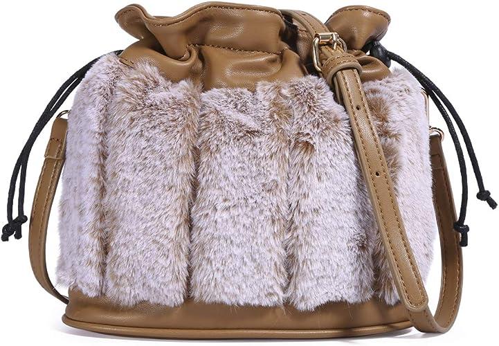 Fashion Drawstring Bucket Bags for Women Shoulder Bag Fluffy Crossbody Purse Handbag Satchel with Long Shoulder Strap (Brown)