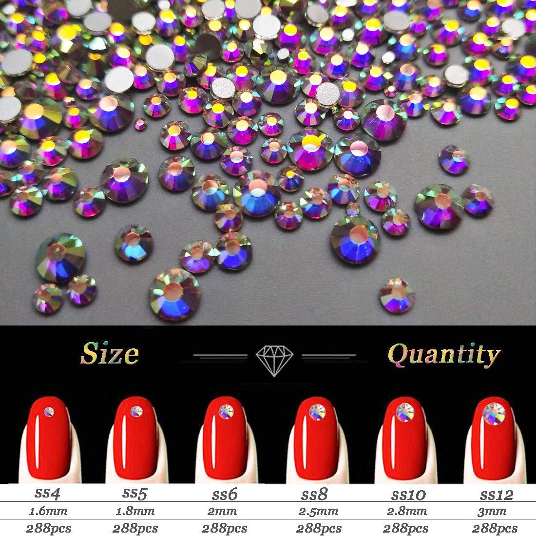AB Crystal Rhinestones Set 100+1728 Pcs, Round and Multishape AB Glass Rhinestone, Flatback AB Crystals for Nails Clothes Face Jewelry: Beauty