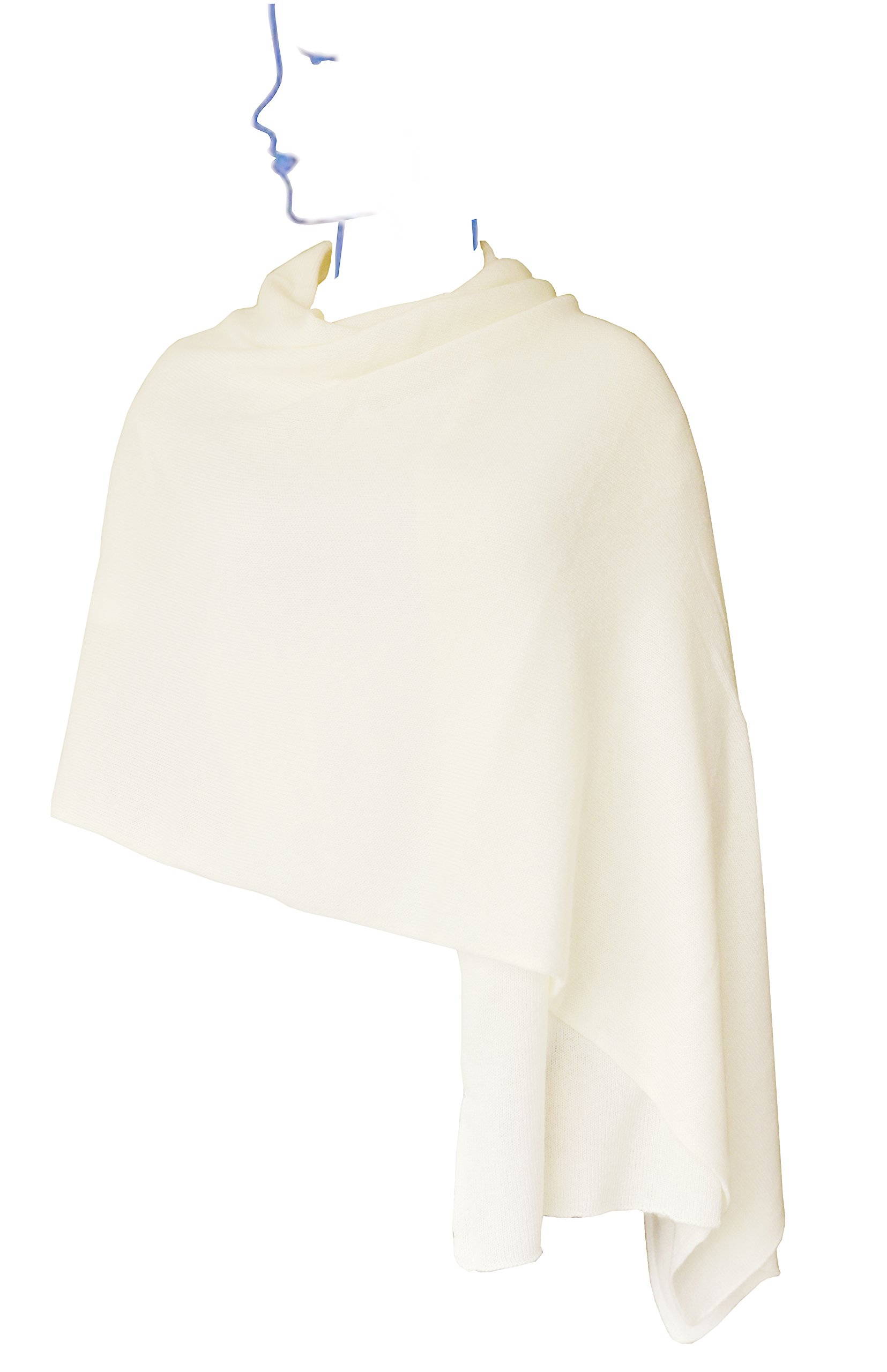 Ellettee, Ivory 100% Cashmere Knitted Scarf Classic Premium Shawl Luxurious Elegant Solid Color Wrap Art Oversized Shawl, Oblong