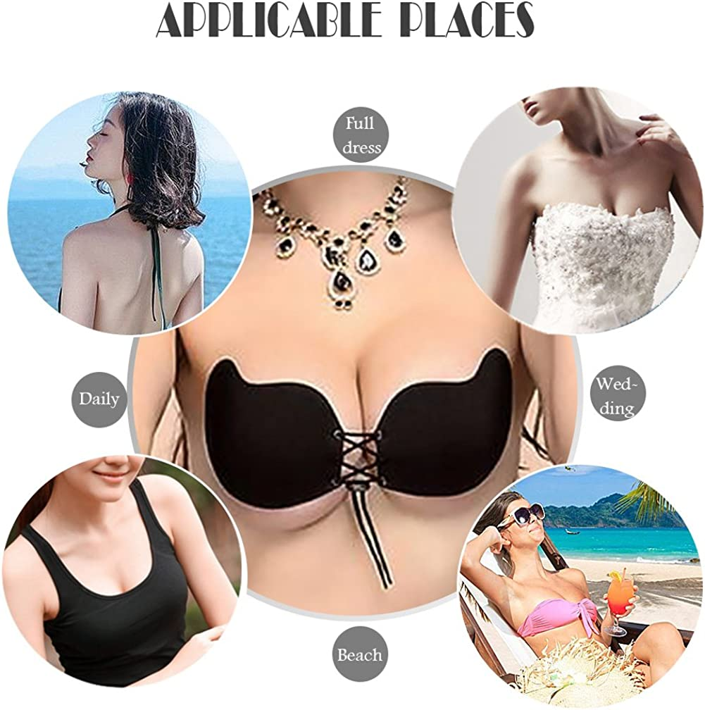 Adhesive Bra Strapless Bra Push up Bra Reusable Silicone Invisible Backless Bra CupB, Black