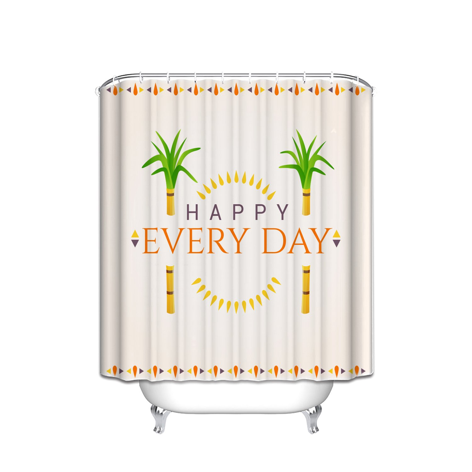 Prime Leader Custom Shower Curtains Happy Every Day Cute Sugar Cane Background Waterproof Polyester Fabric Shower Curtain Hooks Included Gift Ideas 48''(w) x 72''(h) by Prime Leader