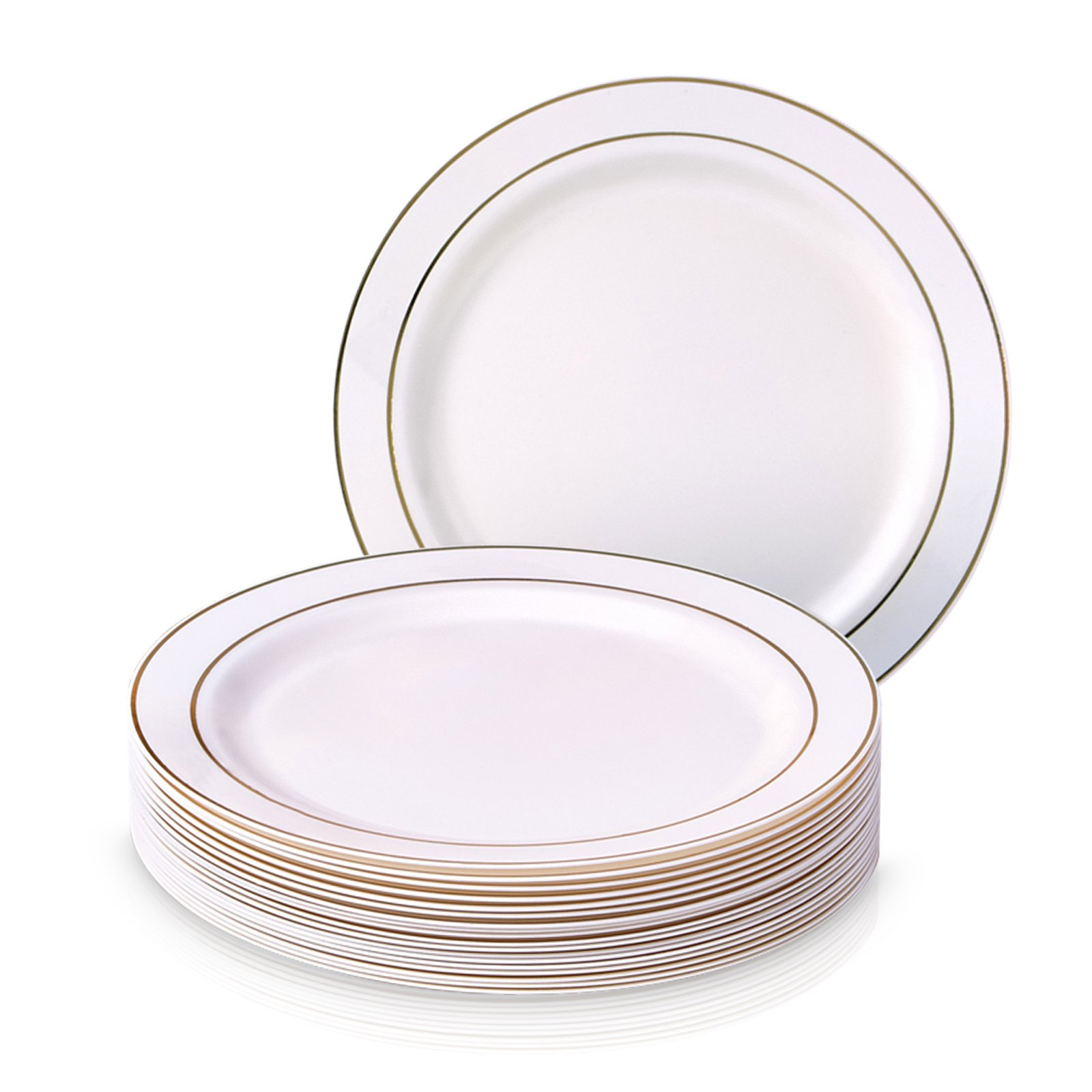 PARTY DISPOSABLE 20 PC DINNERWARE SET | 20 Side Plates | Heavyweight Plastic Dishes | Elegant Fine China Look | for Upscale Wedding and Dining (Golden Glare Collection– Ivory/Gold Border | 7.5 Inch)