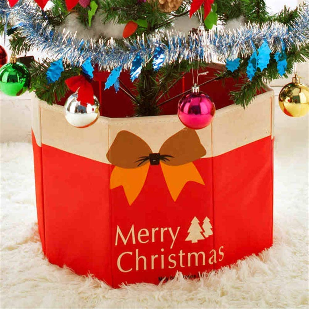 Woooow Rustic Red Christmas Tree Base Stand UP Skirt Cover Foldable Box Home Holiday Ornaments Xmas Holiday Decoration