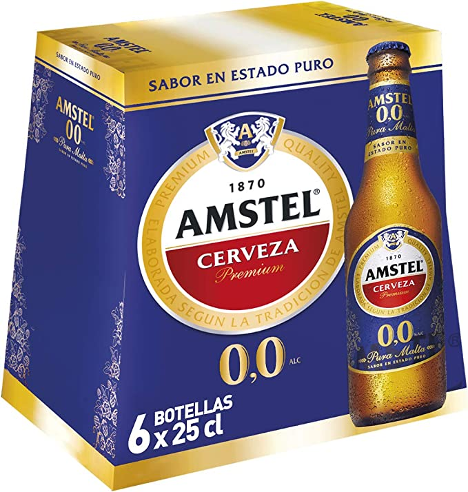 Amstel 00 Cerveza - Pack de 6 Botellas x 250 ml (Total: 1.5 L ...