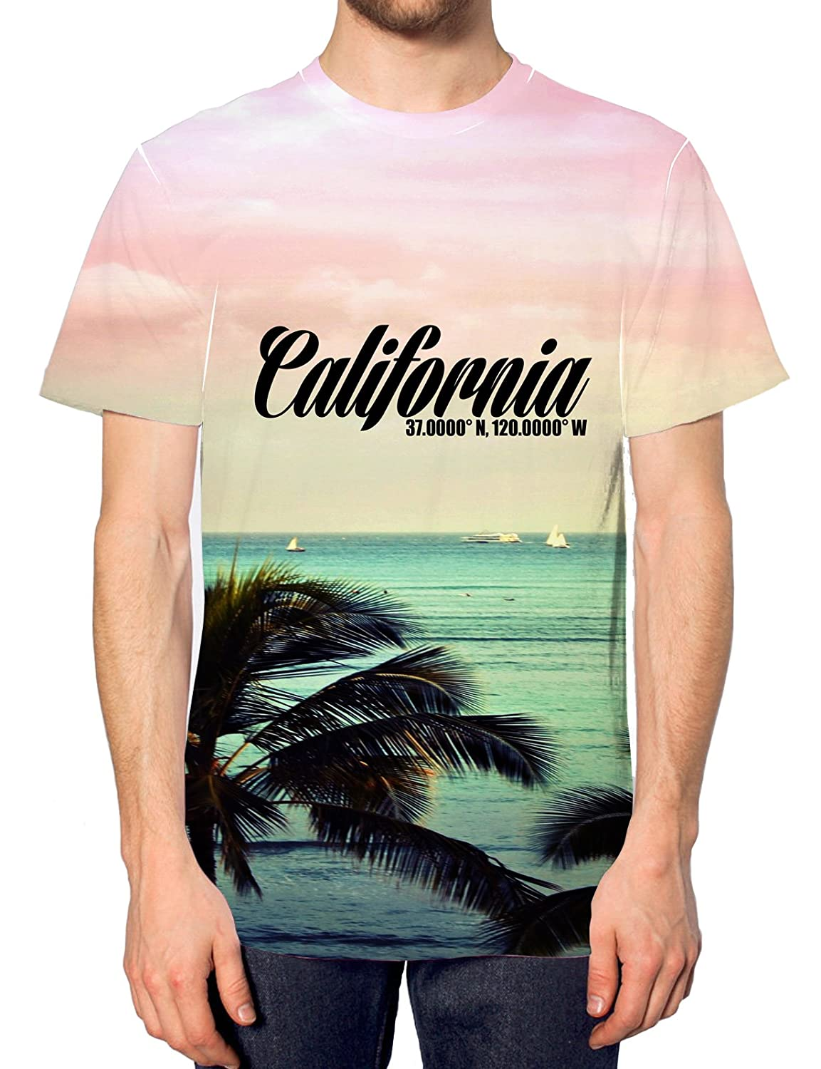 California All Over Printed T Shirt Summer Beach Holiday Festival Mens Womens