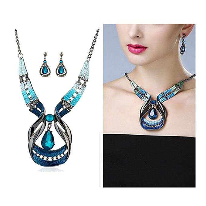 Yunchuang Women Jewelry Set Boho Purple Enamel Statement Necklace Waterdrop Earrings