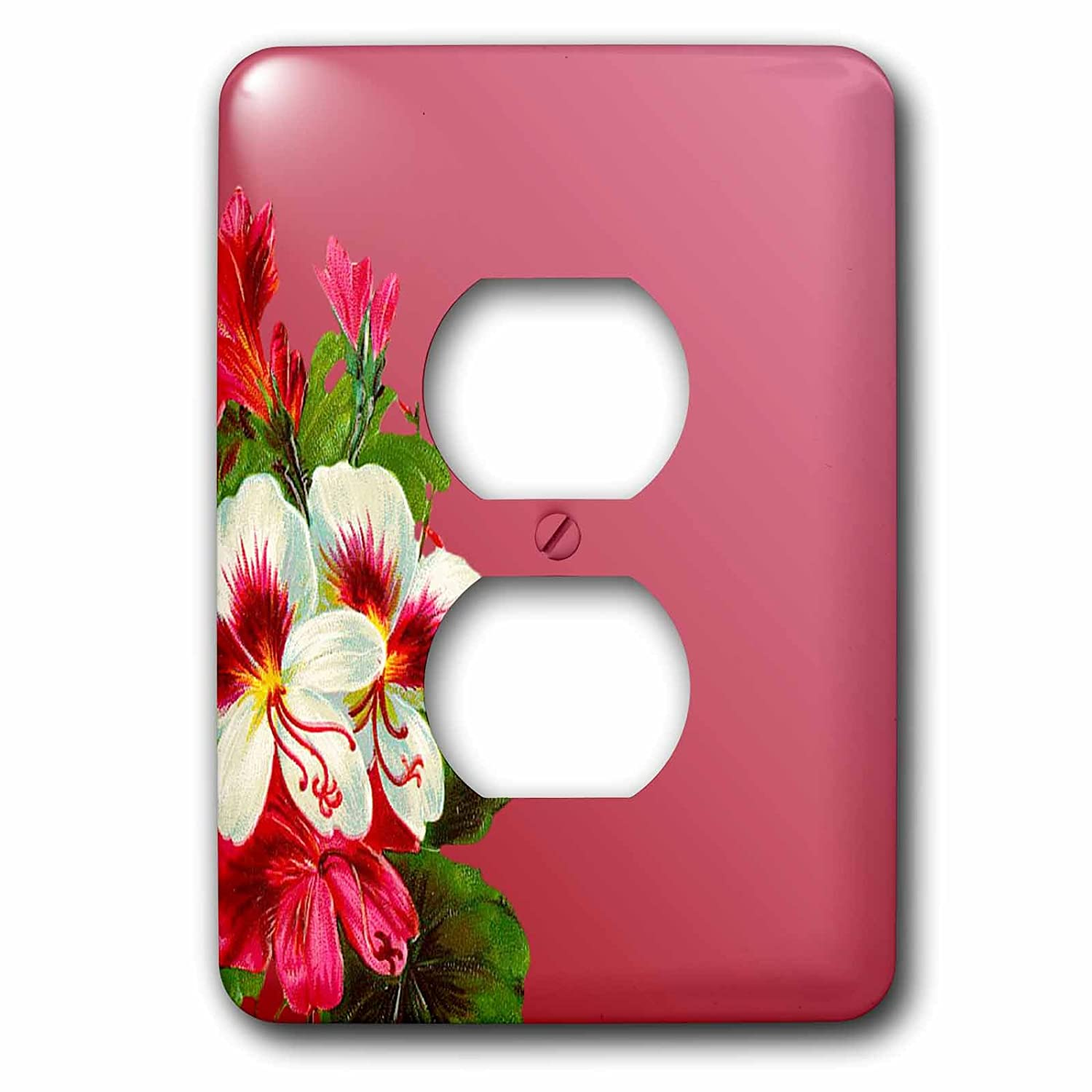 3dRose LSP/_222943/_6 White Colored Flowers on Rose Background 2 Plug Outlet Cover