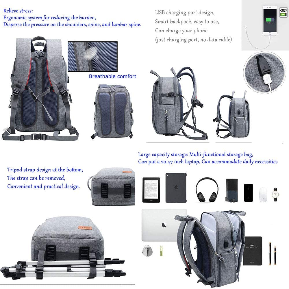 electronic SLR Camera Backpack Waterproof Anti-Theft Professional Camera Bag USB Charging Port Digital Camera Backpack