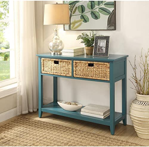 Major-Q Console Table with 2 Drawers and Open Storage for Dining Kitchen Living Room, Rectangular, Wood Rustic and Teal Finish, 44 x 16 x 28
