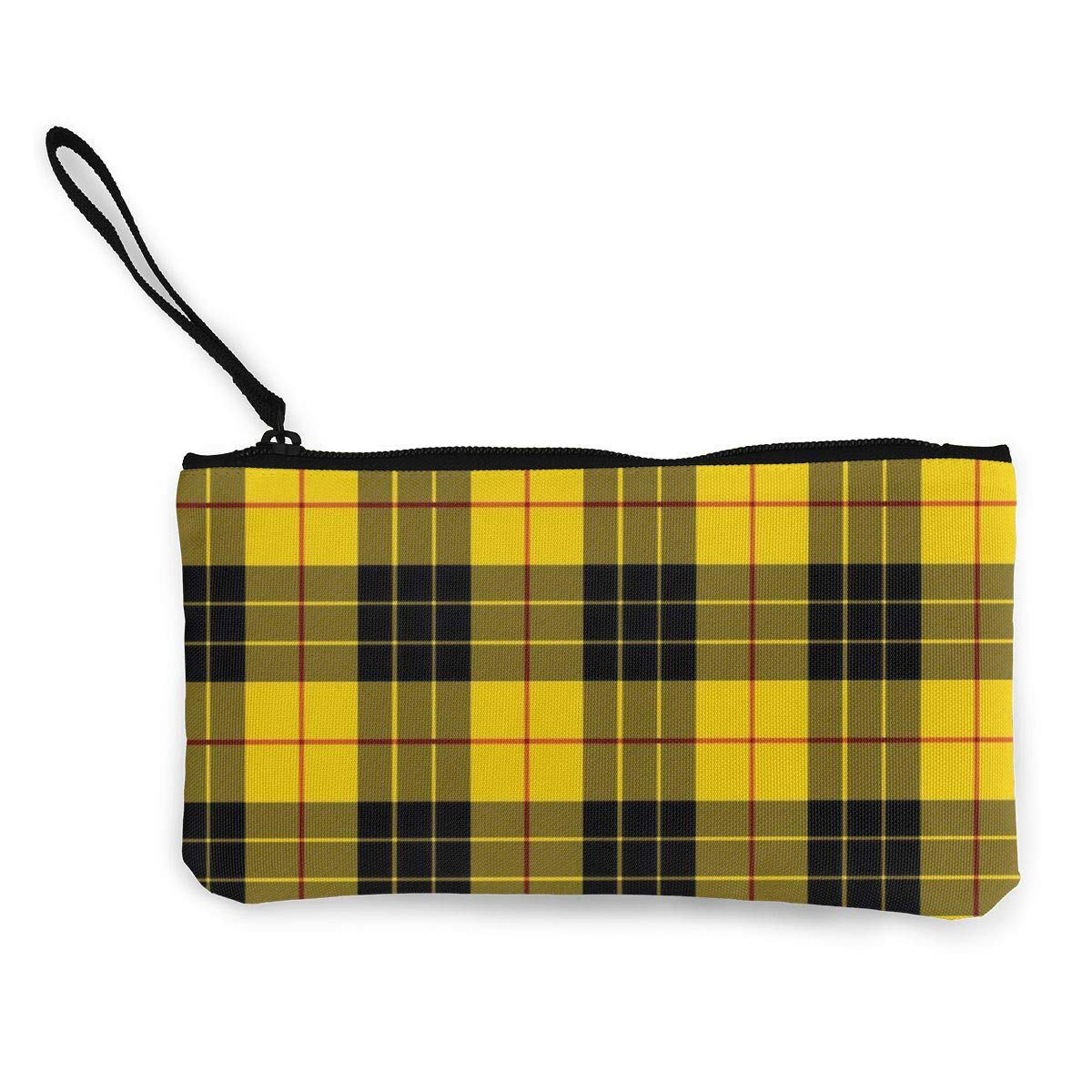 DH14hjsdDEE Yellow Gray Black Plaid Pattern Zipper Canvas Coin Purse Wallet Make Up Bag Cellphone Bag With Handle