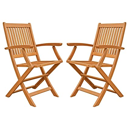 LuuNguyen Win Outdoor Hardwood Folding Arm Chair, Natural Wood Finish, Set  of 2 - Amazon.com : LuuNguyen Win Outdoor Hardwood Folding Arm Chair