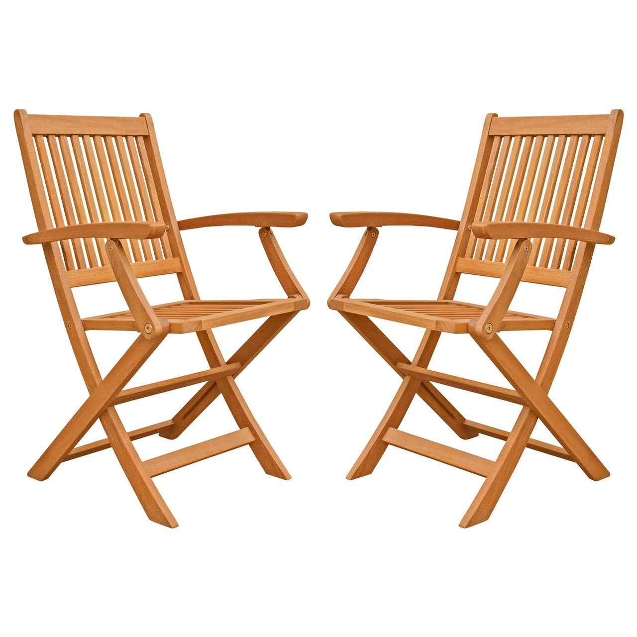LuuNguyen Win Outdoor Hardwood Folding Arm Chair, Natural Wood Finish, Set  Of 2