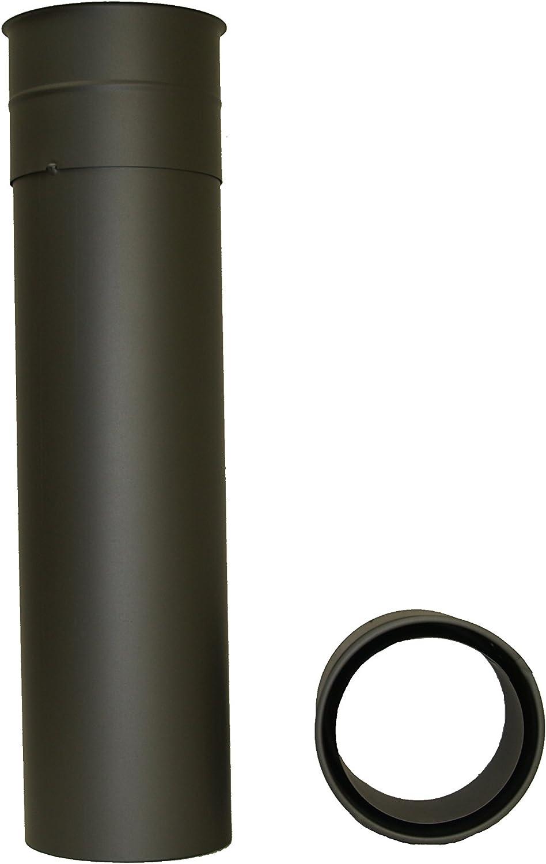 LANZZAS Rauchrohr Ofenrohr Kaminrohr Wandfutter doppelt Mauermuffe mit Rohrverl/ängerung von 500 mm /Ø 150 mm