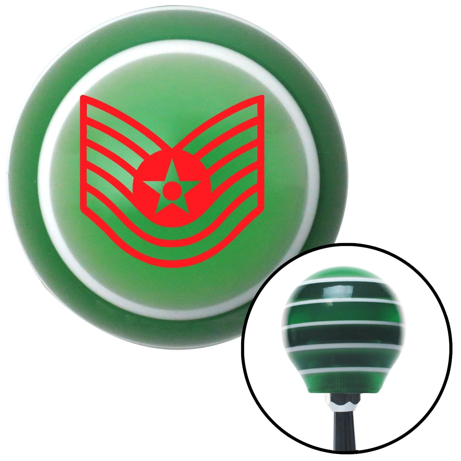 American Shifter 124640 Green Stripe Shift Knob with M16 x 1.5 Insert Red Technical Sergeant