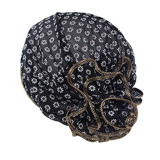 Women Cancer Chemo Stylish Solid Color Cotton Beanie Hat African Elegant Big Flower Turban Soft Breathable