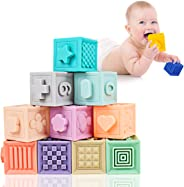 Mixi Baby Toys Blocks, Soft Blocks for Babies 6 Month Baby Toys Teething Toys Infant Toys Baby Building Blocks Montessori Dev