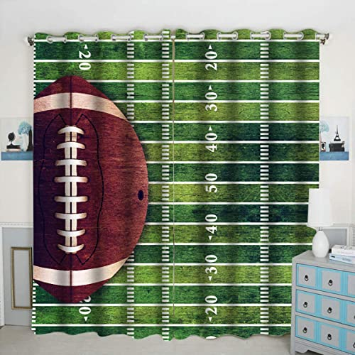 American Football Theme Window Curtain Panels Blackout Curtain Panels Thermal Insulated Light Blocking 42W x 84L inch Set of 2 Panels