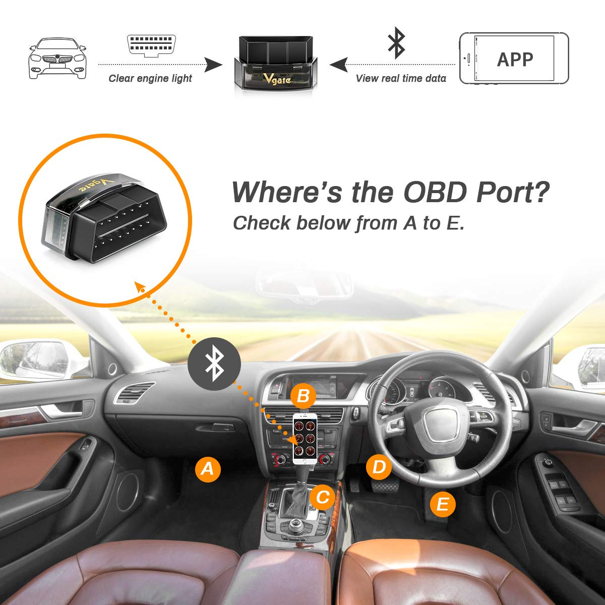 Powcan OBD2 Scanner Bluetooth Car OBD 2 Code Reader Scan Tool OBD II Bluetooth 4.0 Auto Diagnostic Scanner Tool for iPhone iOS Android iPad Check Engine Light for Year 1996 and Newer Vehicles Automotive OBD-II Engine System Diagnostic Tools