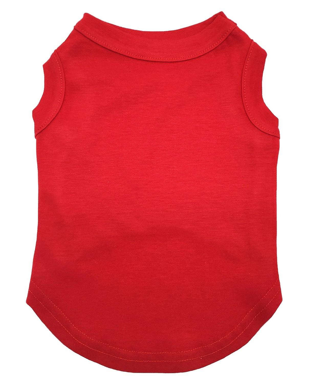 Petitebelle cucciolo di cane vestiti abito rosso tinta unita senza maniche girocollo maglietta GT114