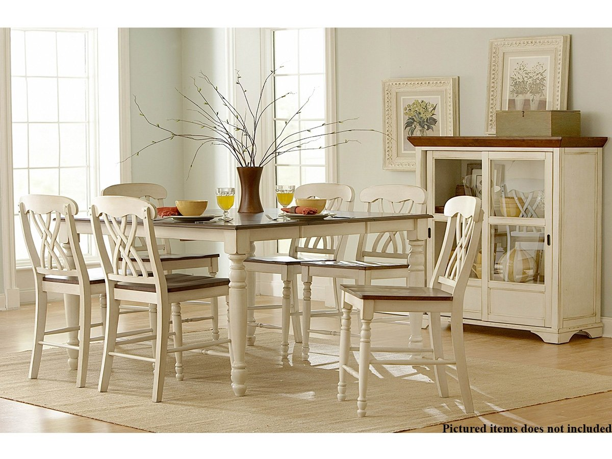 amazoncom ohana 5 piece counter height table set by homelegance in 2 tone antique white u0026 warm cherry table u0026 chair sets