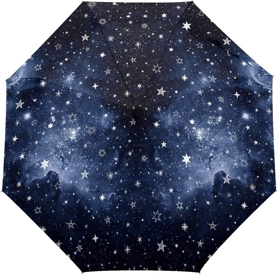Travel Umbrella Windproof-Night Sky Stars,Durable Folding Compact Umbrella for Outdoor Rainy Use Auto Open and Close Button