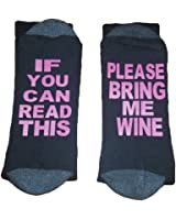 Set of 2 100% Cotton If You Can Read This Bring Me Wine Beer Tube Socks