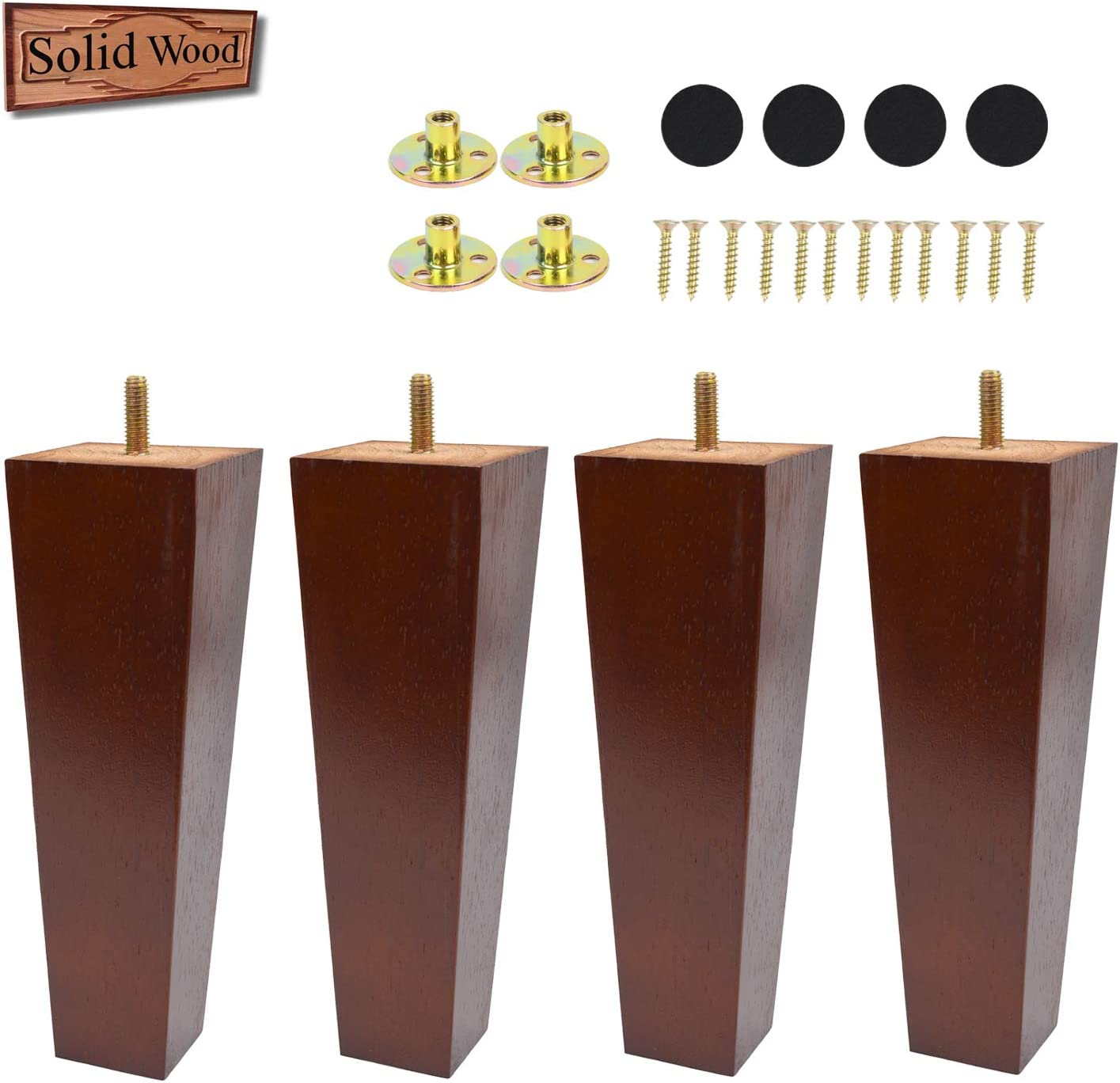 8 Inch Sofa Legs Replacement Furniture Legs Brown Solid Pyramid Wood Feet for Armchair Recliner Coffee Table Couch Chair Set of 4 with mounting Plates and Screws